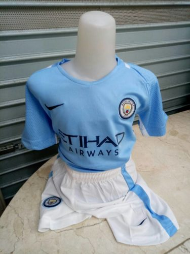 Jersey Bola Manchester City Home Kids 2017-2018